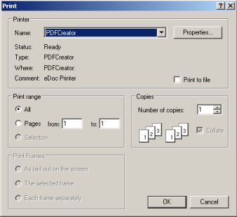 screenshot of printer PDFCreator selected